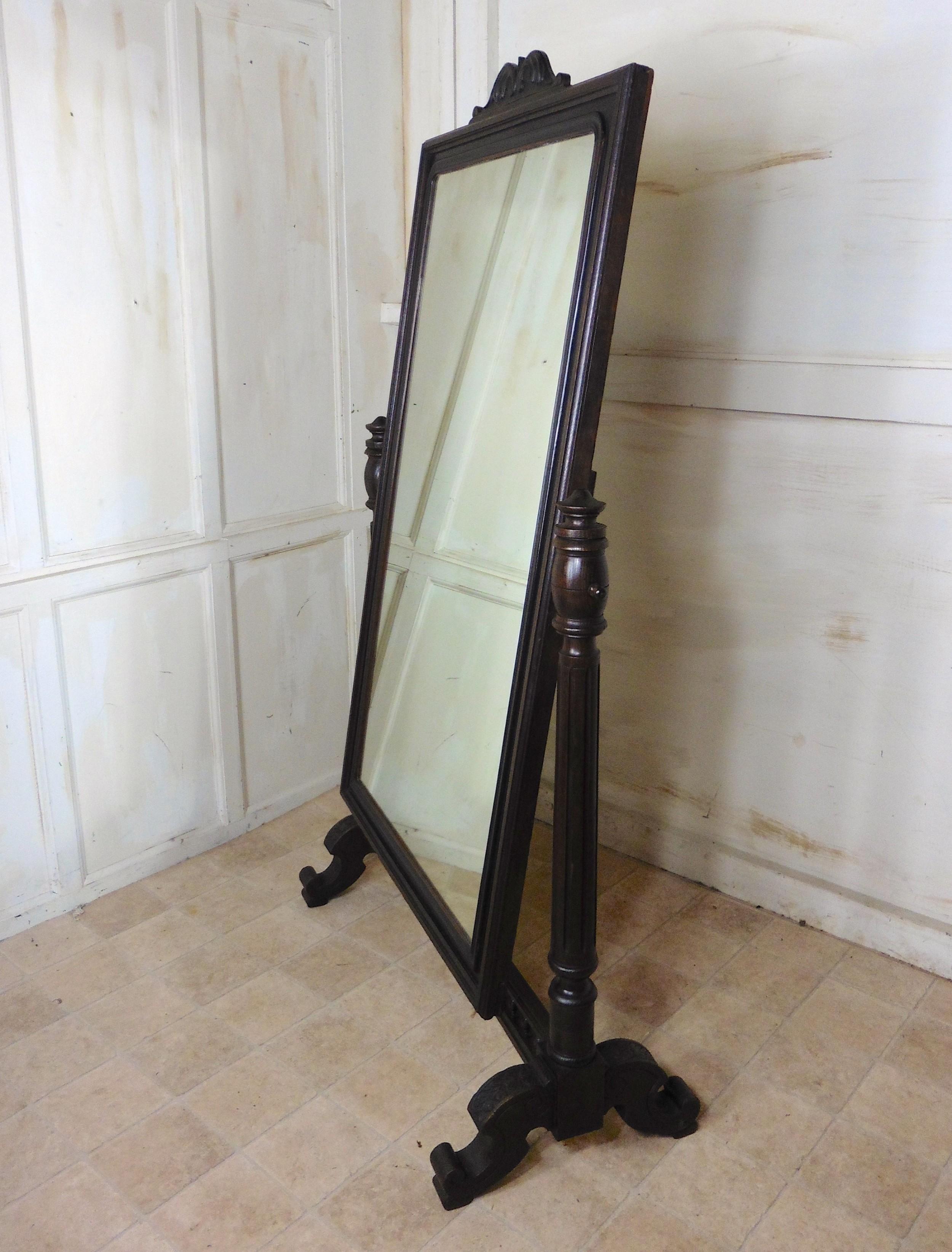 large 19th century breton oak cheval mirror
