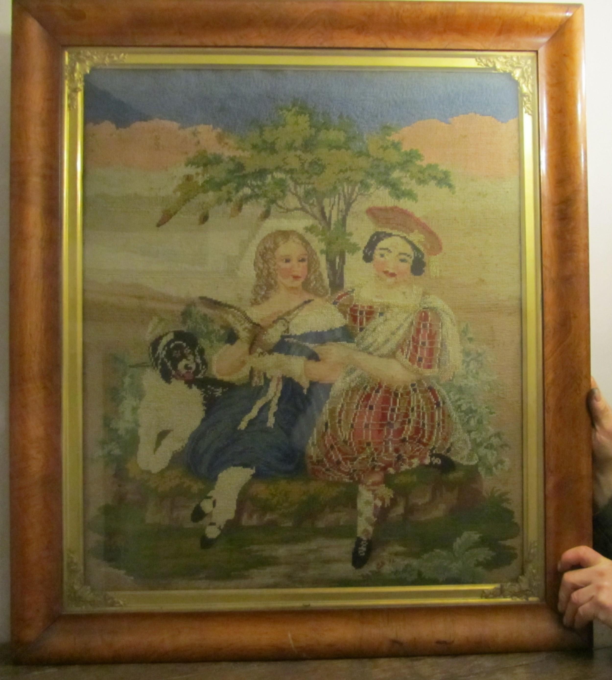19th century framed scottish tapestry