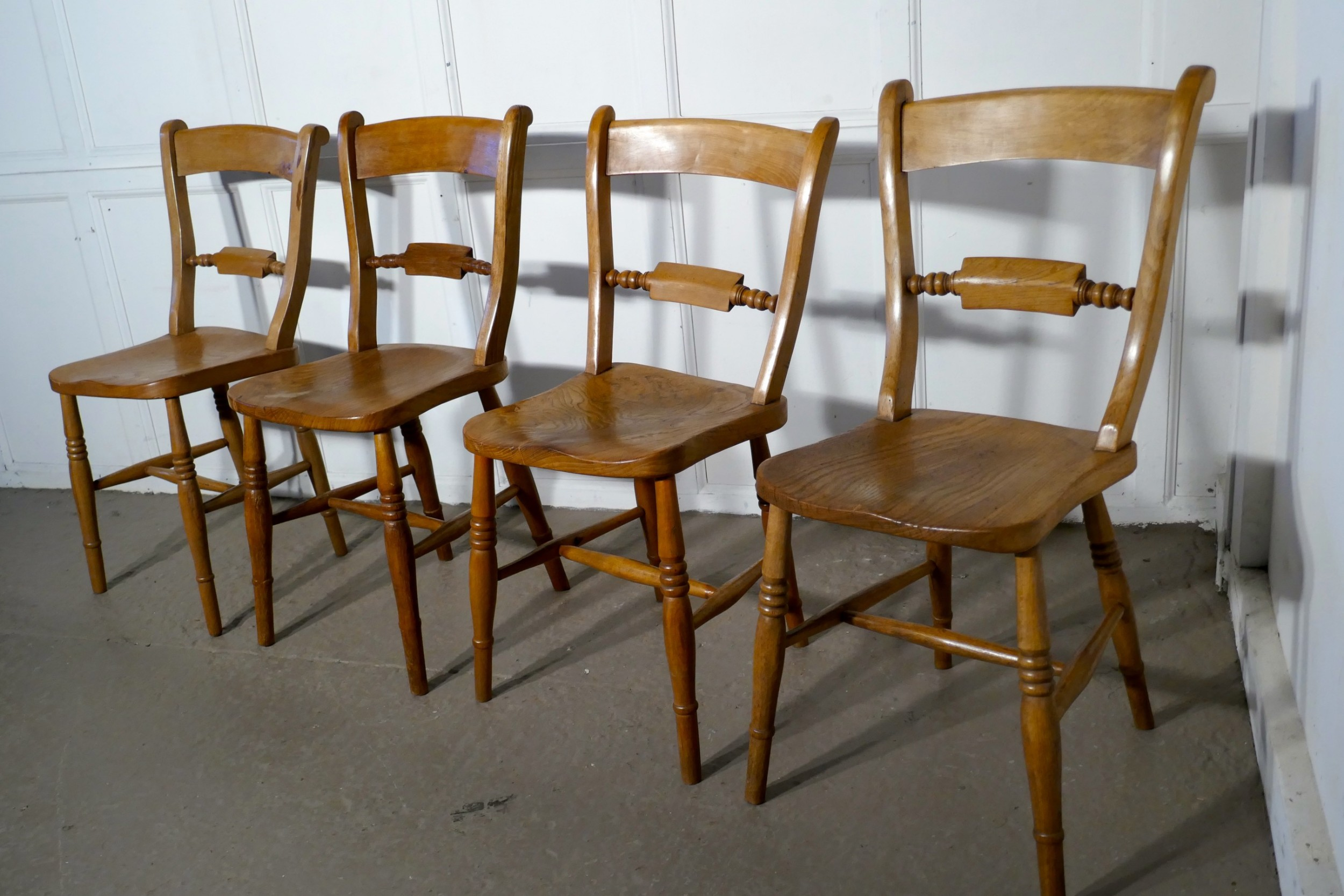harlequin set of 4 victorian beech and elm rope back kitchen dining chairs