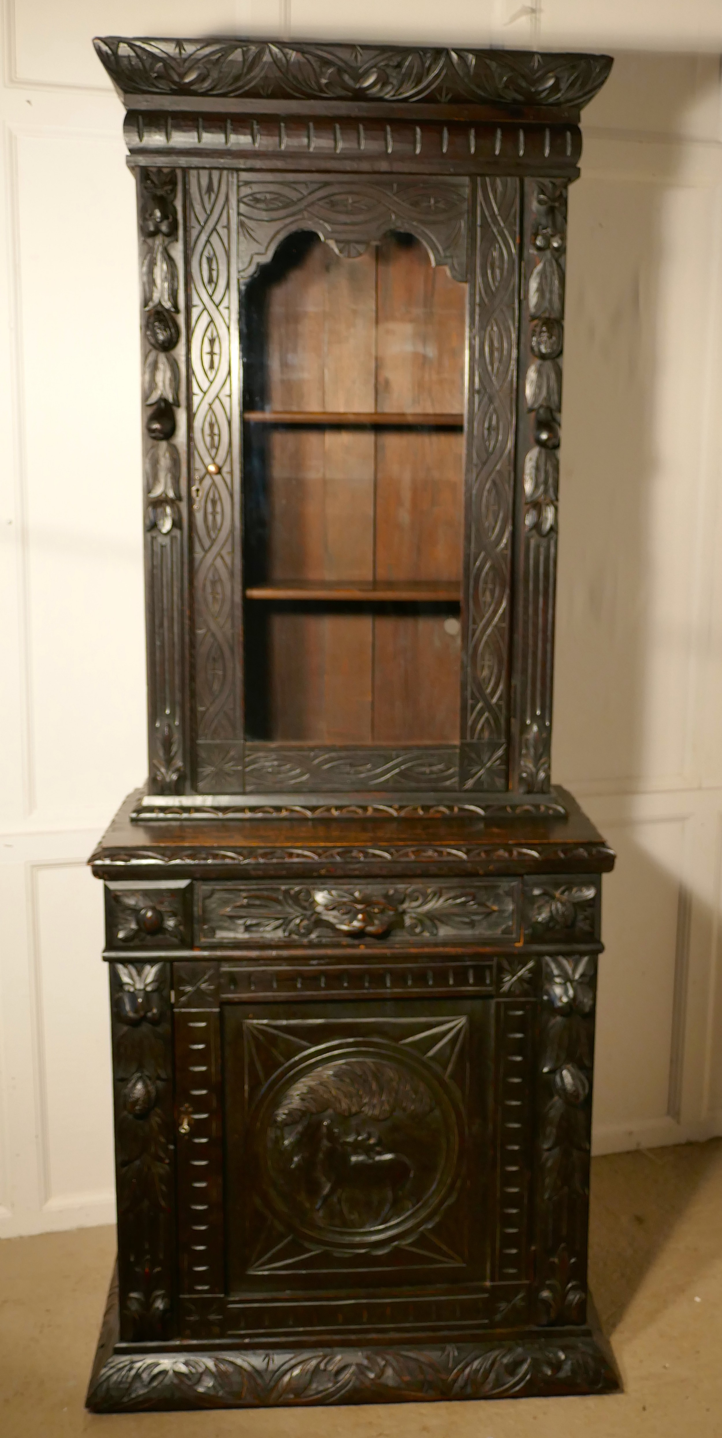 early victorian carved gothic oak alcove bookcase
