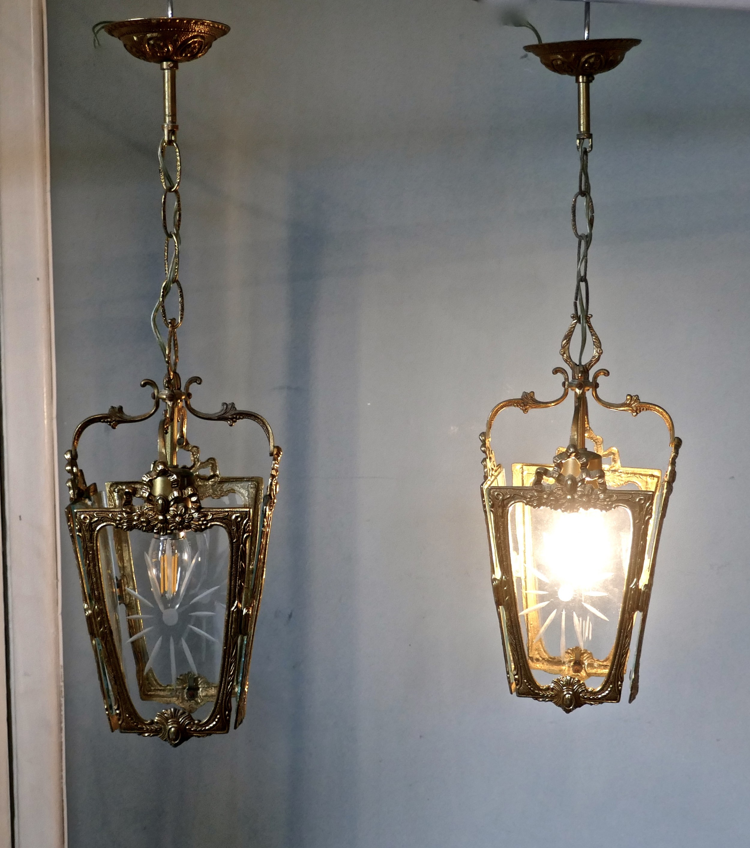 a pair of superb quality french rocco brass and etched glass lantern hall lights