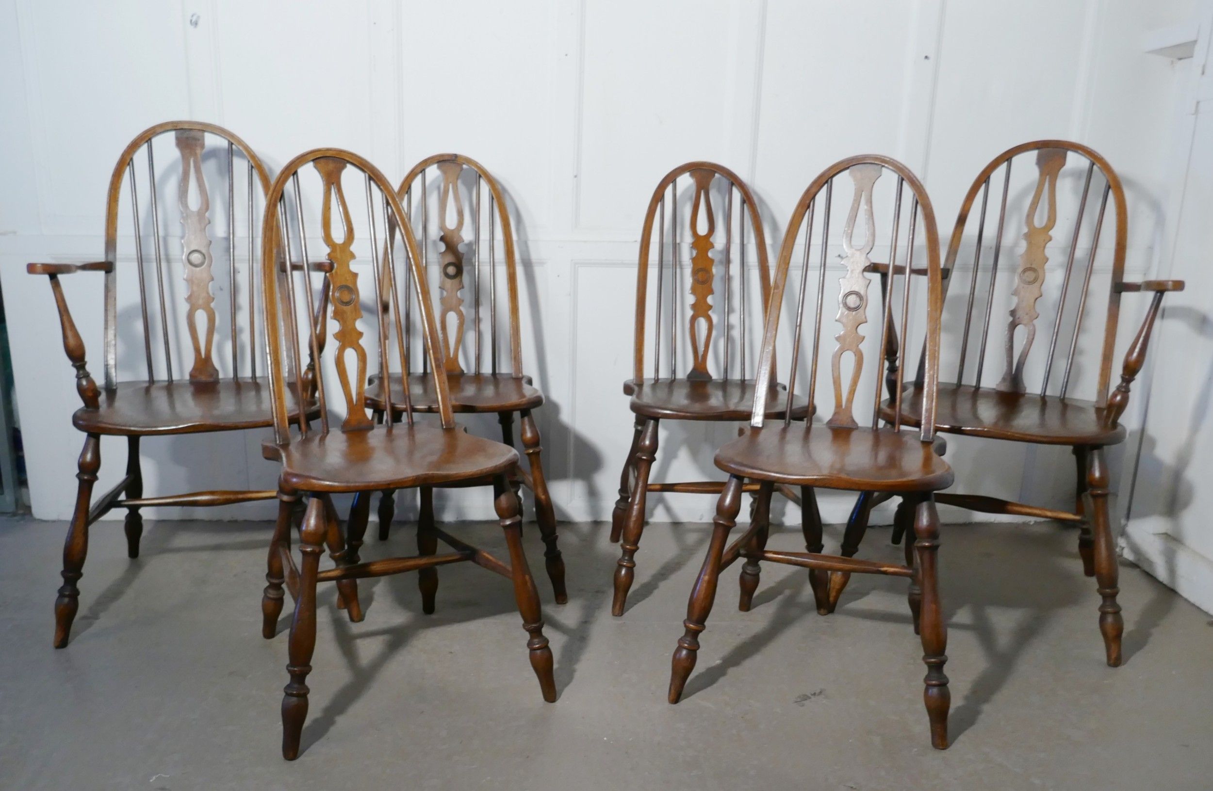 set of 6 beech elm arts and crafts high back english windsor chairs