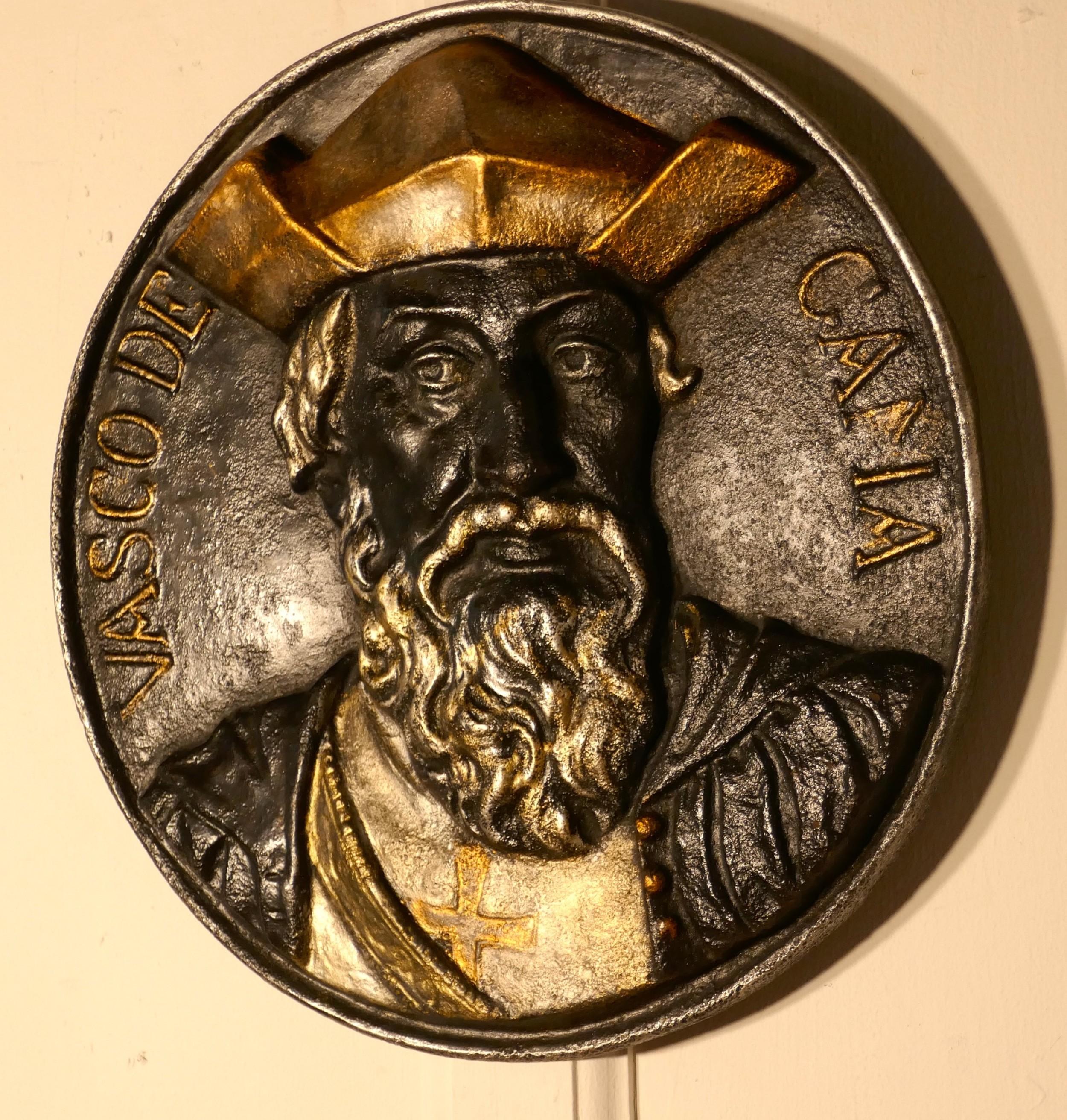 19th c cast iron bust portrait plaque of explorer vasco da gama 14601524