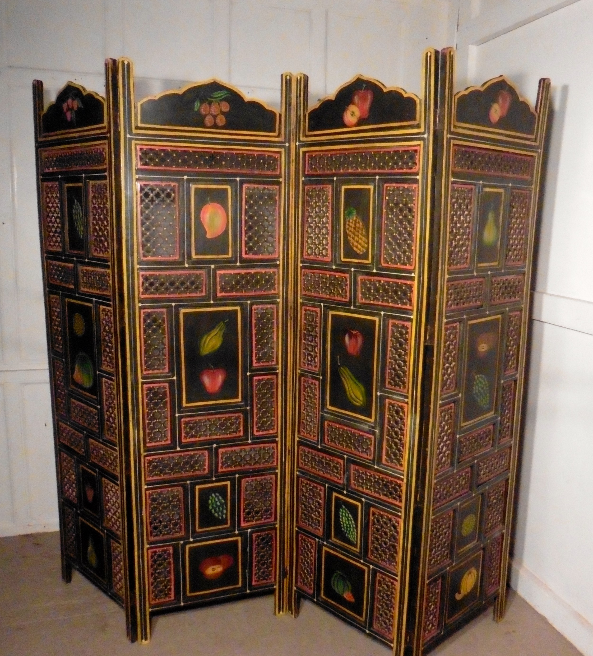 a large 19th century north african folk art pierced painted 4 fold screen