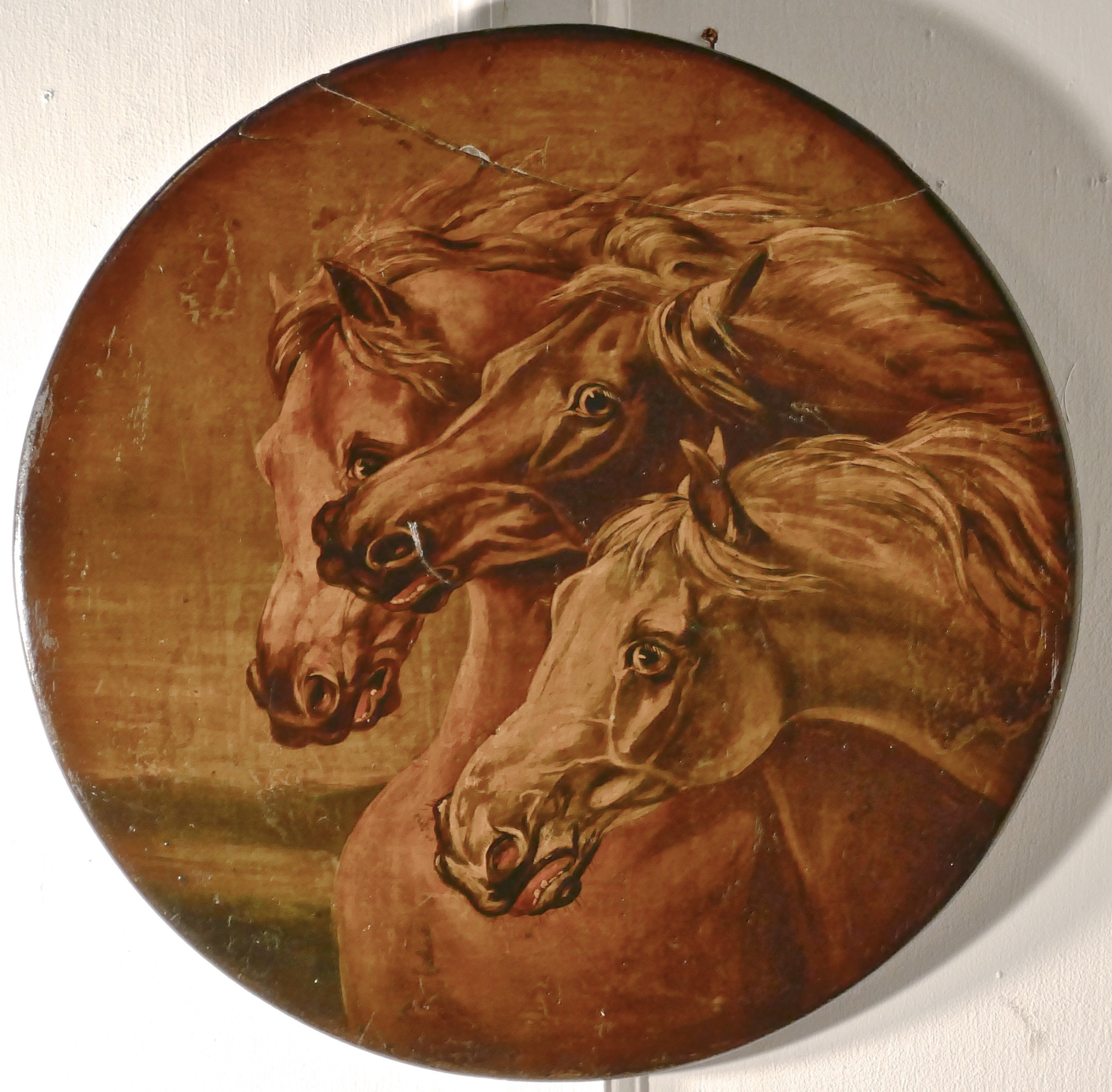 attributed to edwin landseer rare oil painting on slate fearful horses