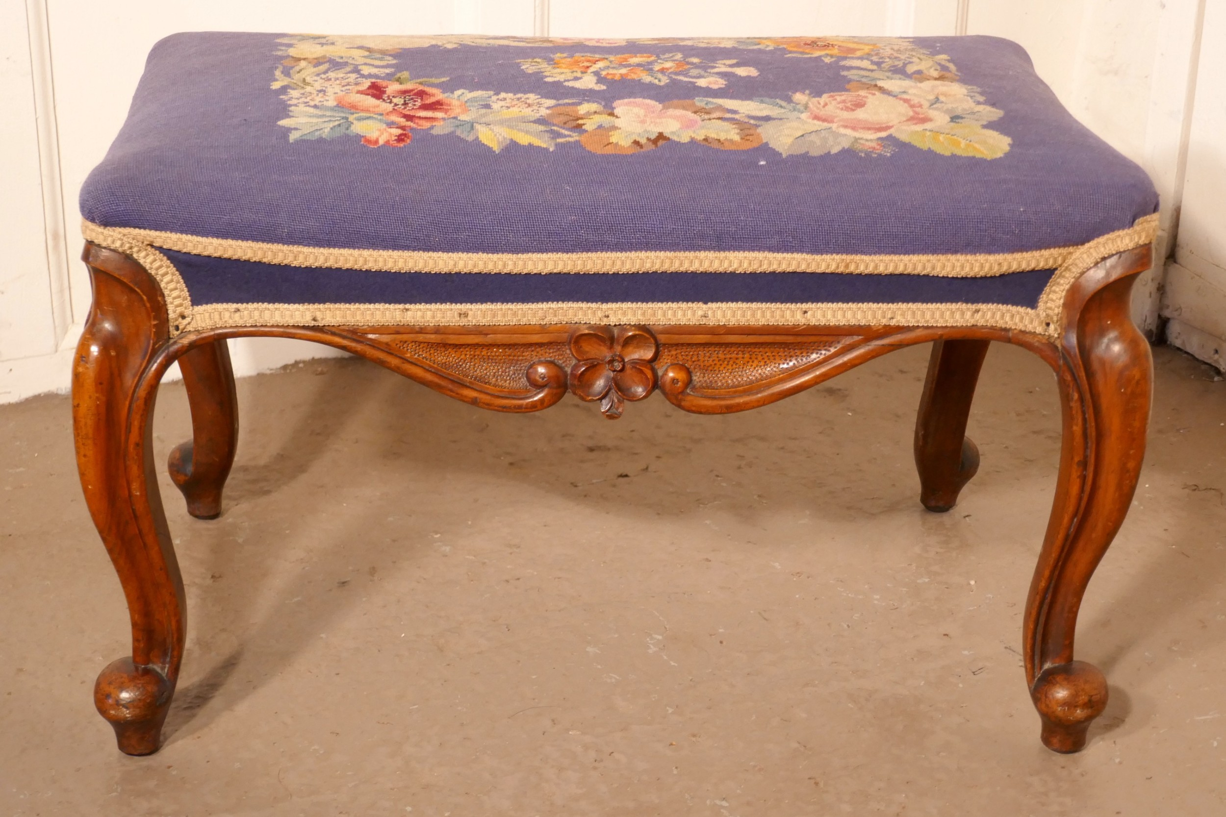 victorian petit point tapestry upholstered mahogany stool