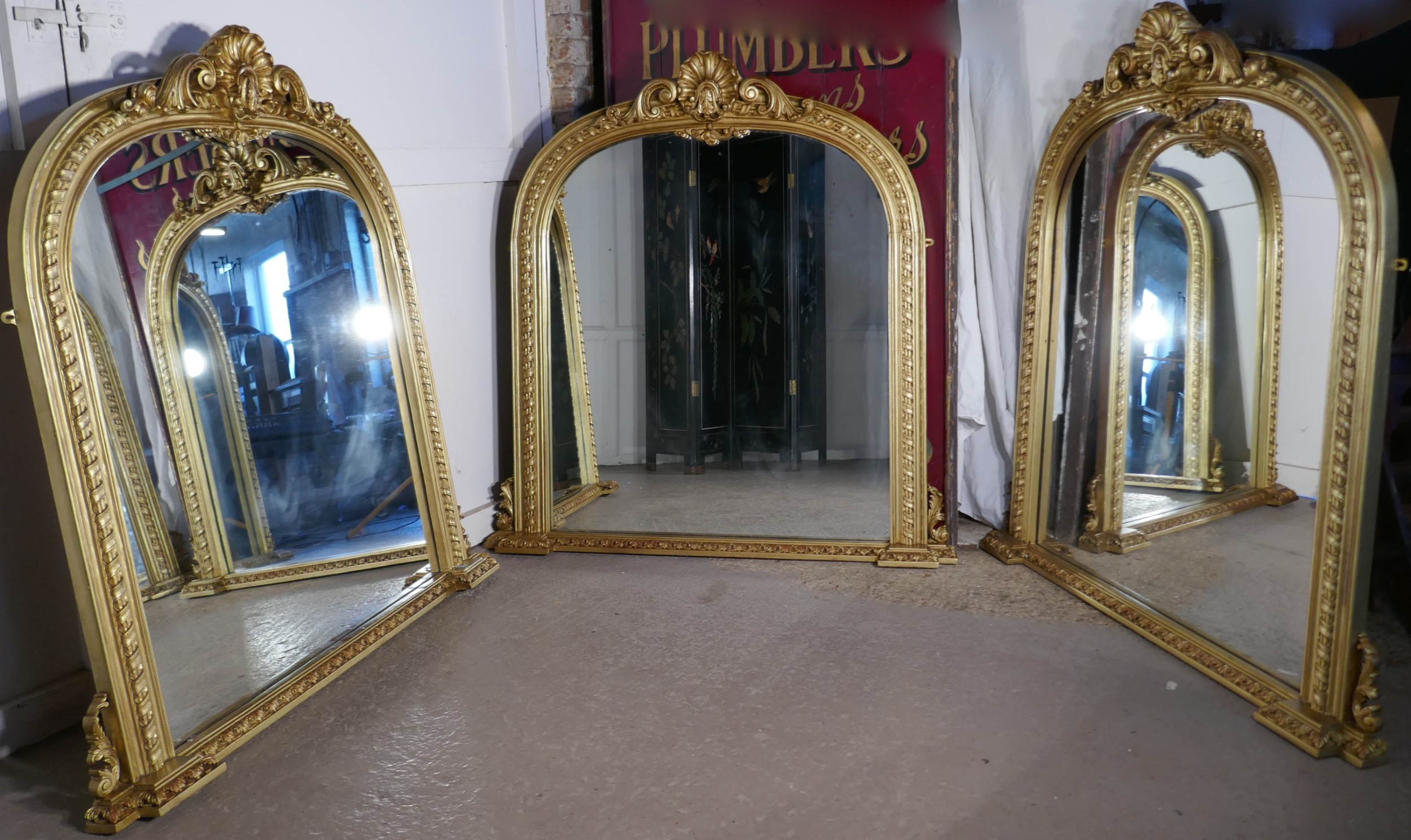 rare set of 3 large gilt arched rococo over mantle mirrors
