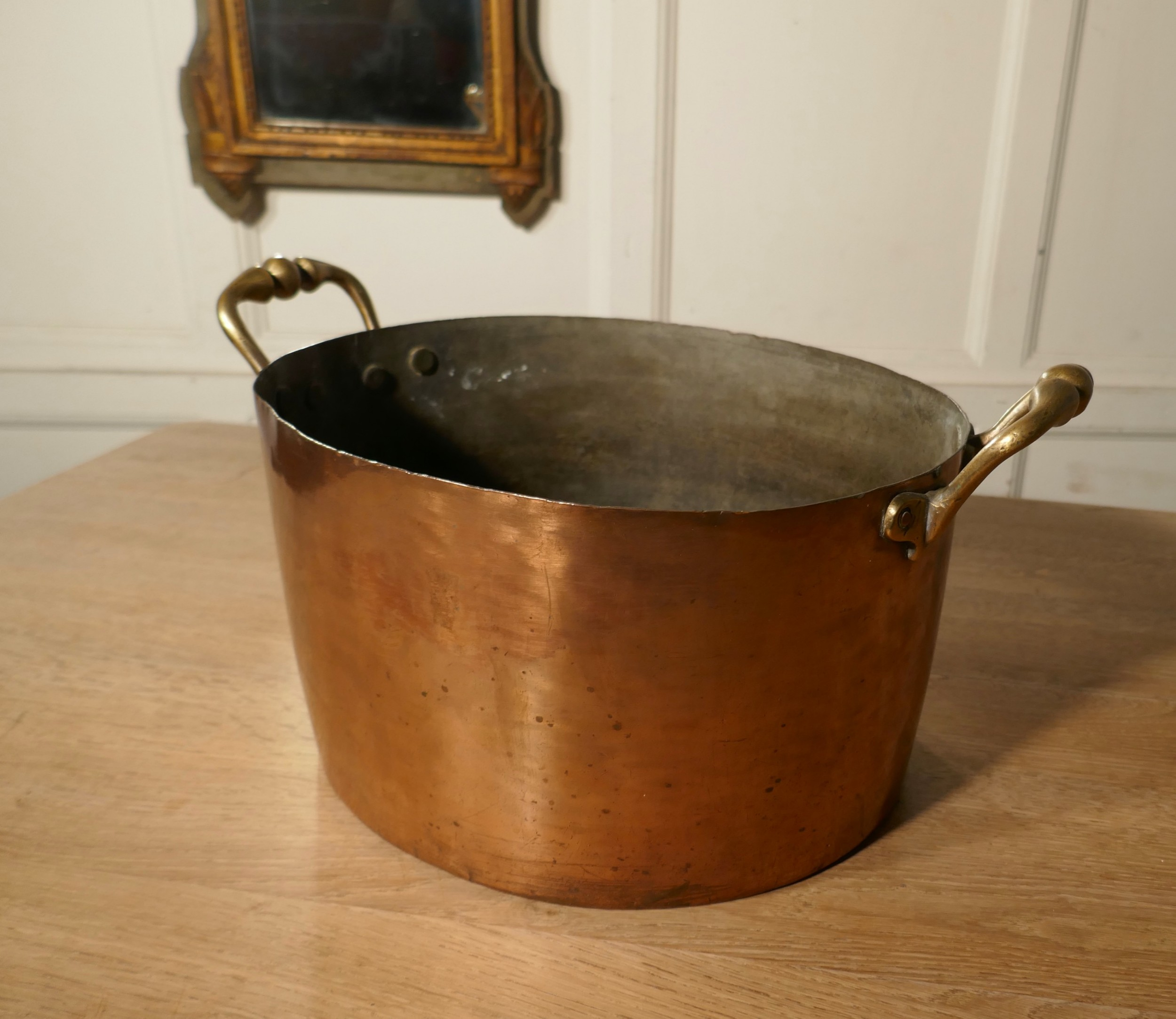 large 19th century double handled copper pot