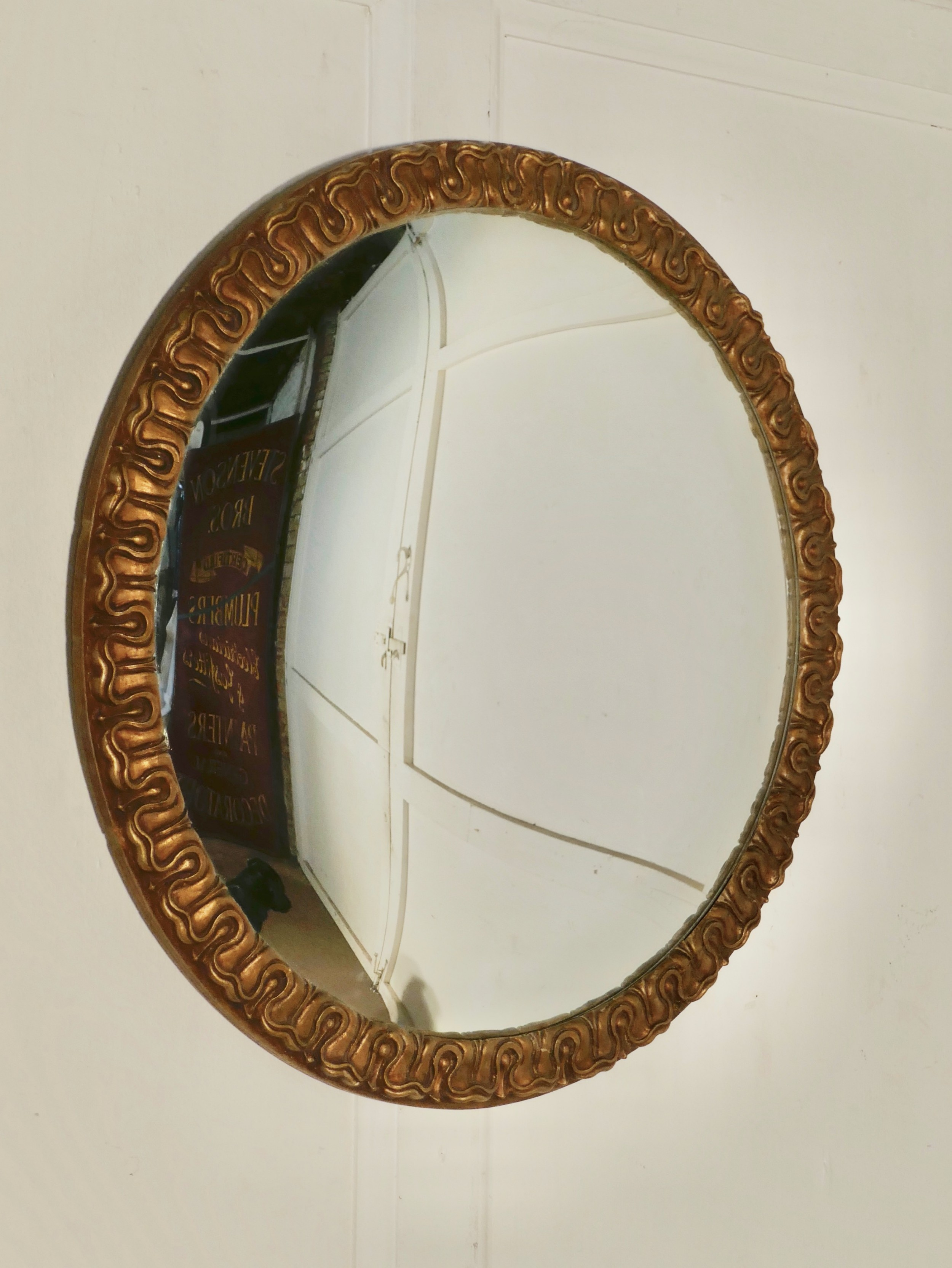 A Large Art Deco Convex Gilt Wall Mirror 655838 Sellingantiques Co Uk