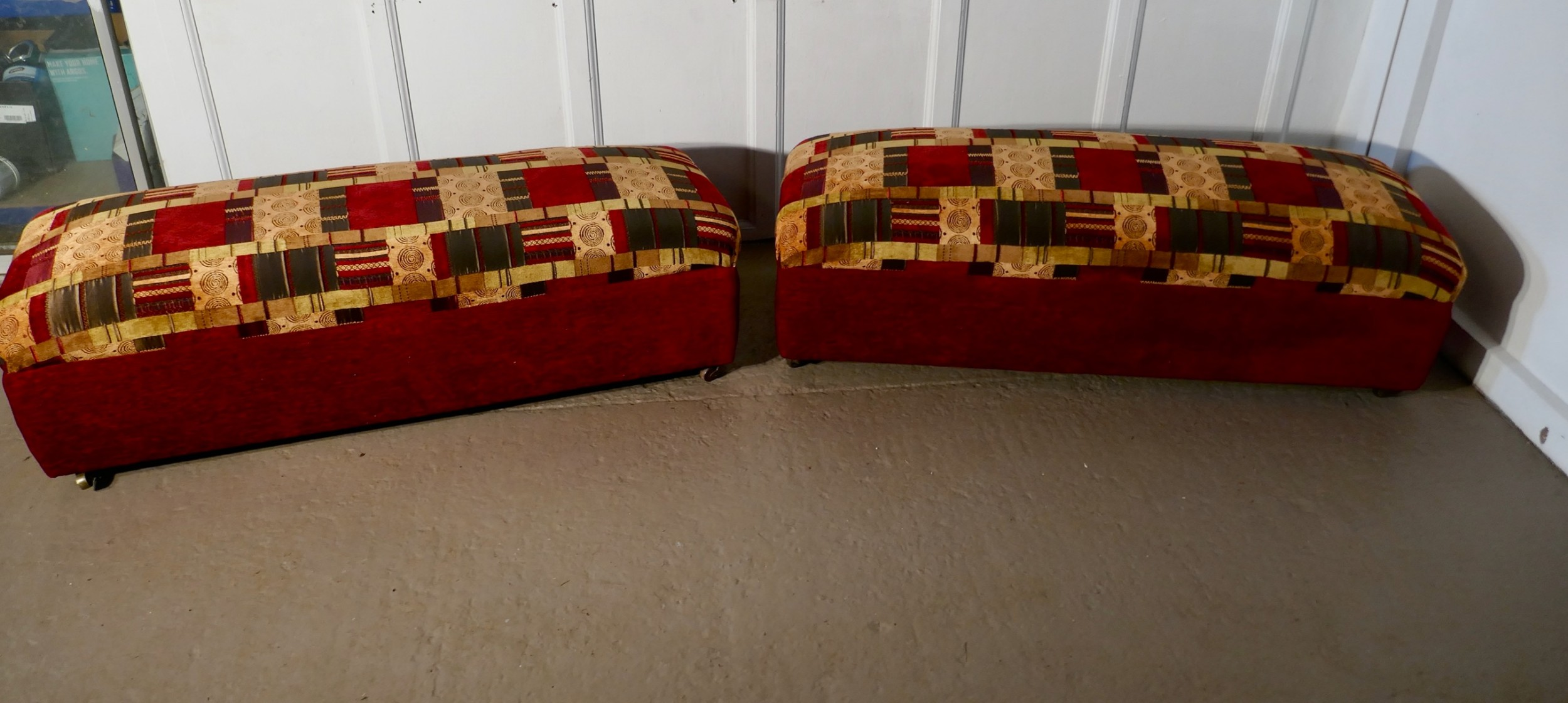a pair of victorian upholstered ottoman window seats