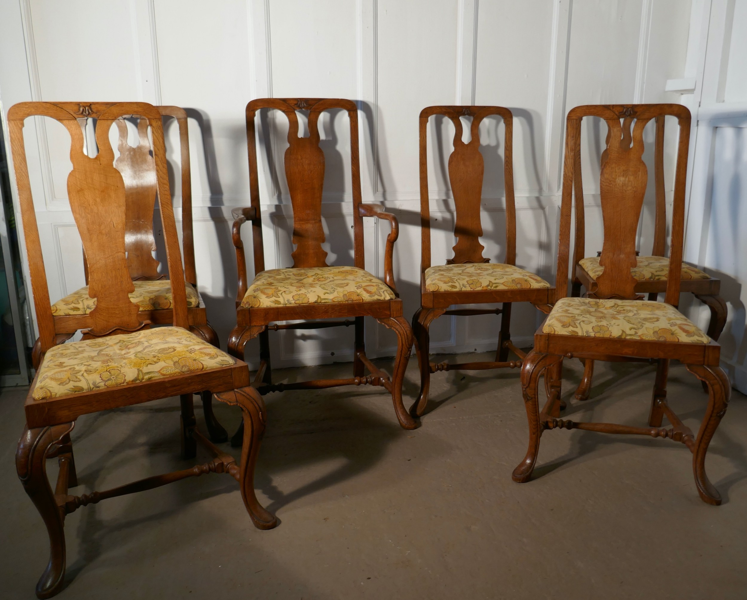 a set of six arts crafts queen ann style golden oak dining chairs