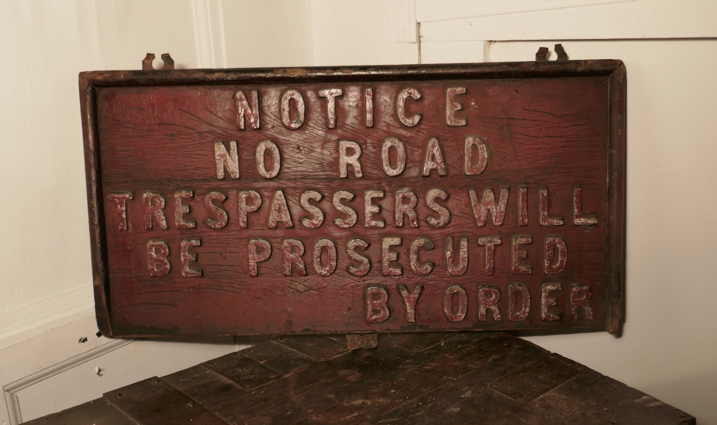19th century rustic private land owners trespassers sign
