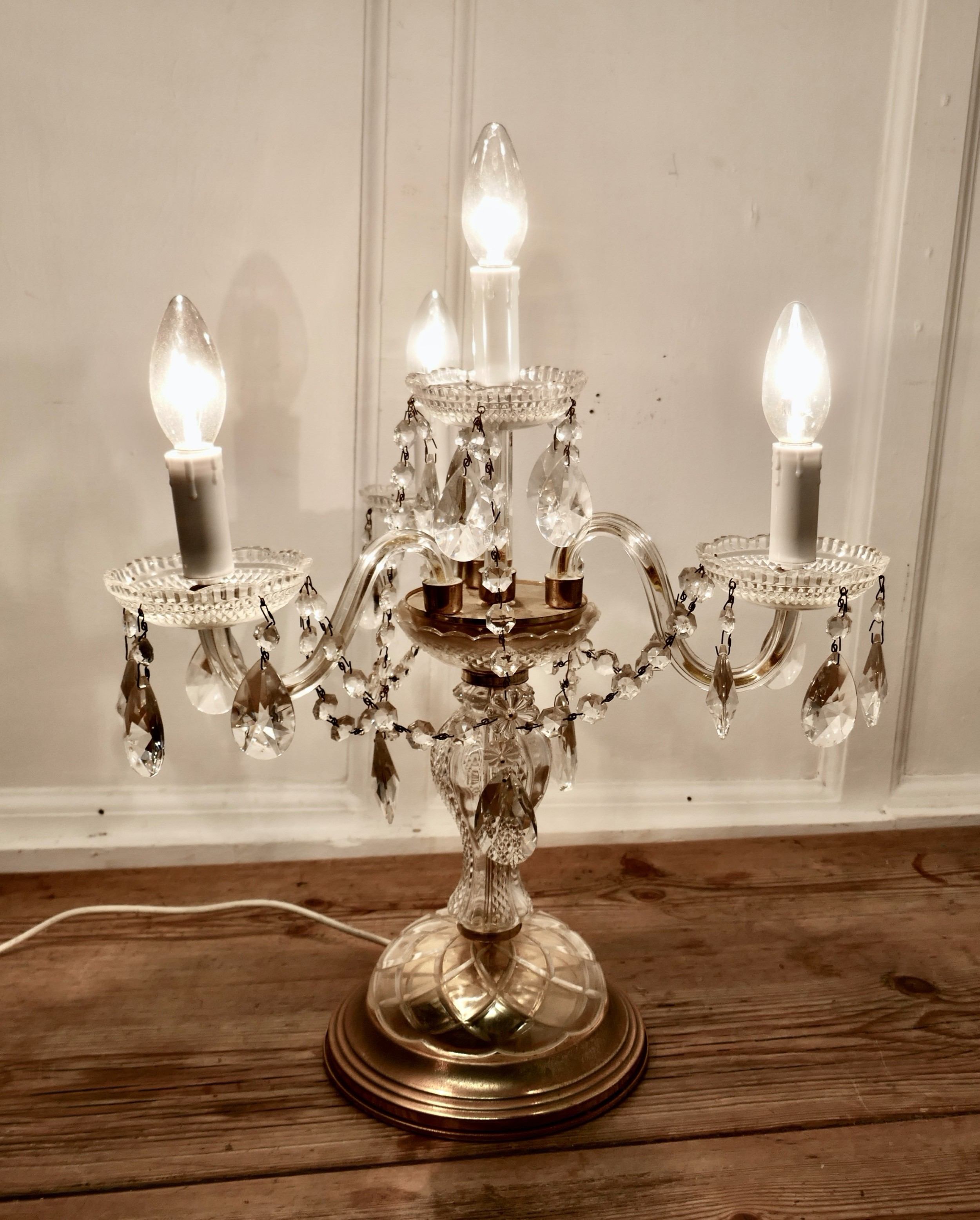 French Brass And Crystal Chandelier, Chandelier Bedside Lamps Uk