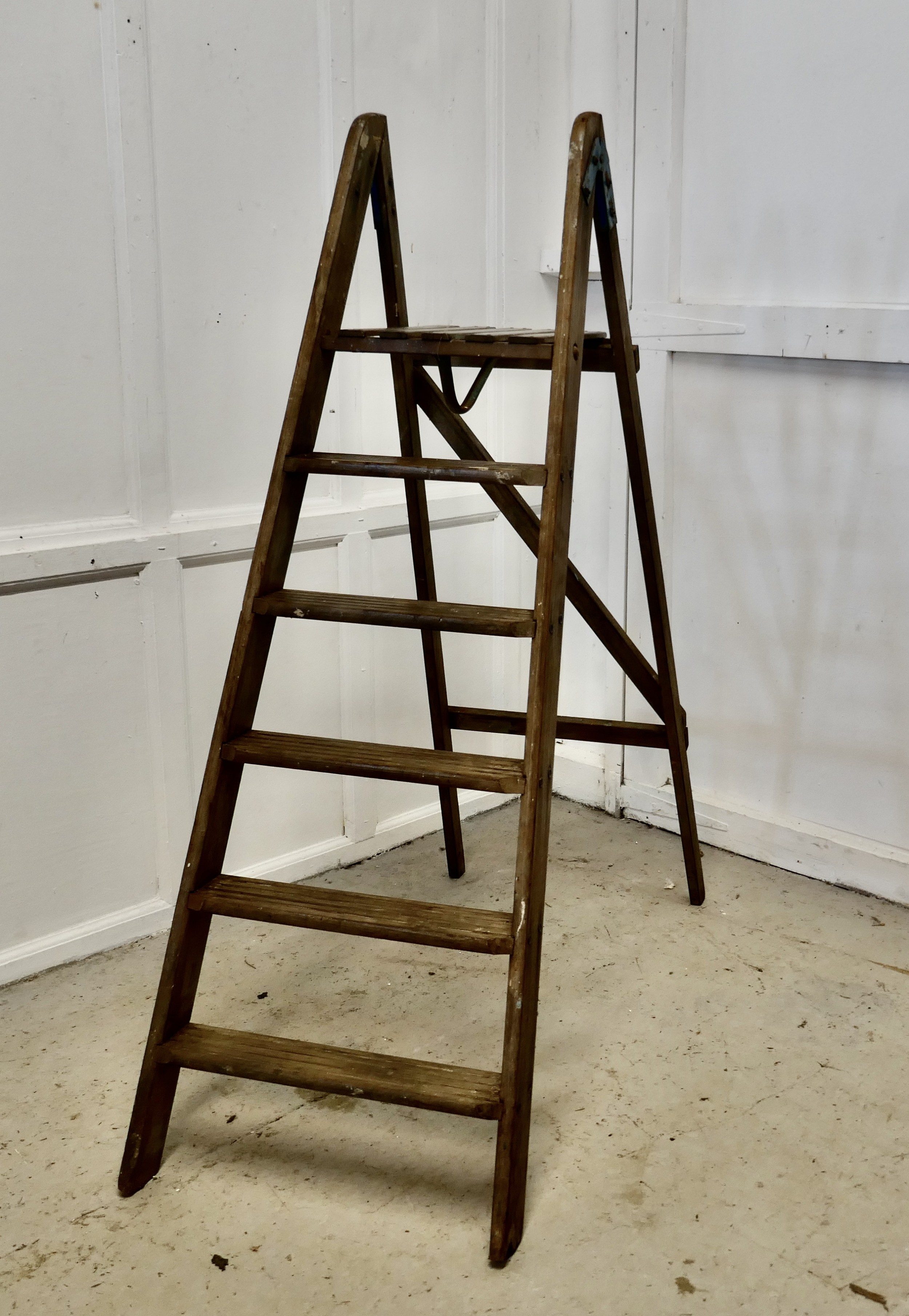 tall 19th century wooden step ladder