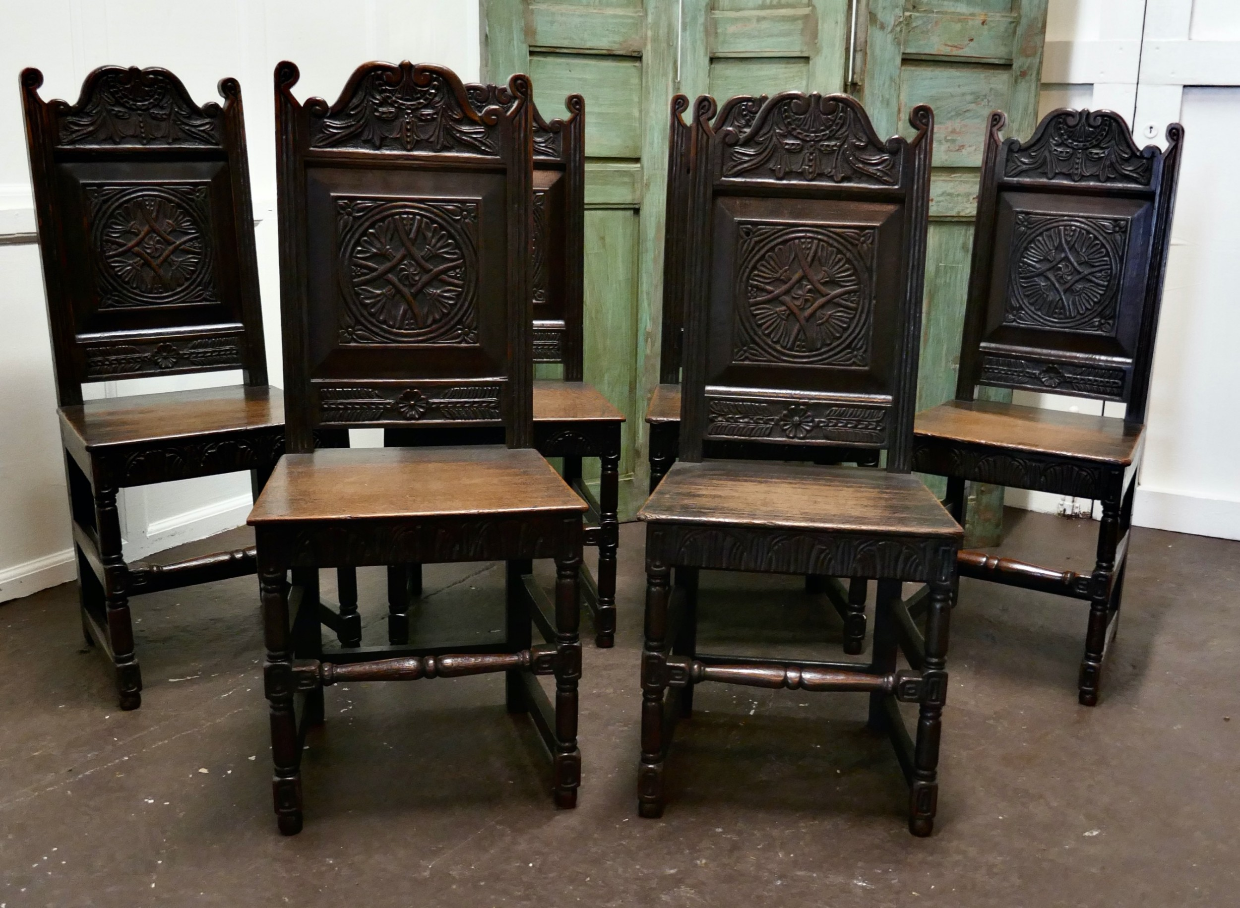 set of 6 19th century gothic oak celtic design country chairs