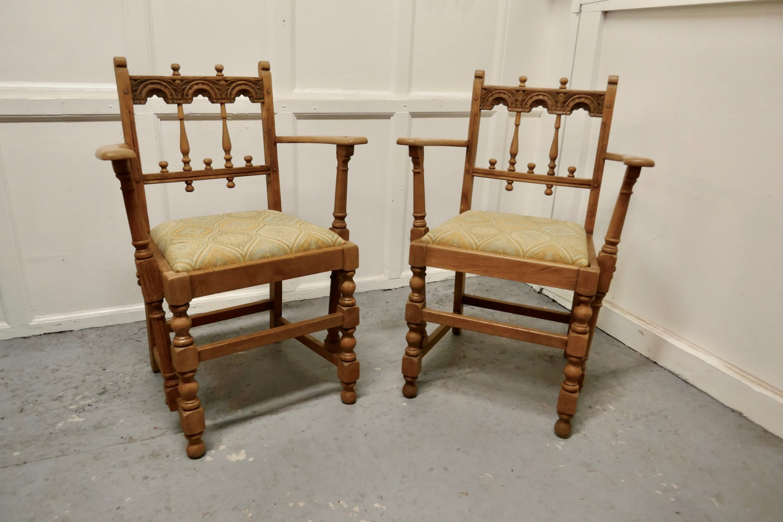pair of arts and crafts gothic bleached oak hall chairs