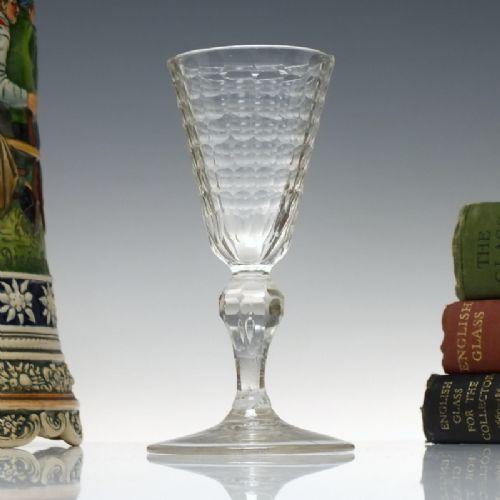18th century facet cut bohemian wine glass c1730