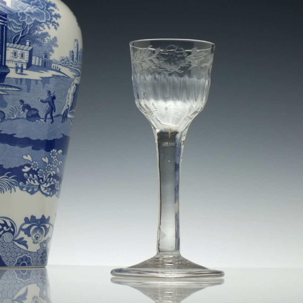 engraved and rib moulded 18th century plain stem wine glass c1740