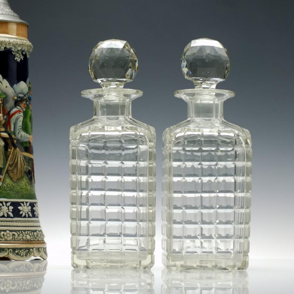 pair large victorian hob nail cut whisky decanter c1880