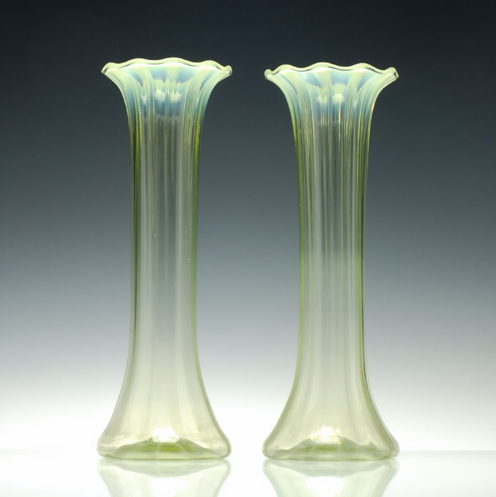 pair tall victorian opalescent and green vaseline glass vases c1880