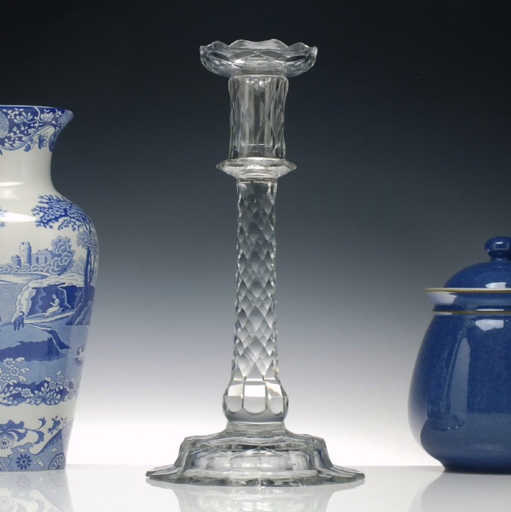 tall georgian 18th century glass candle stick c1780