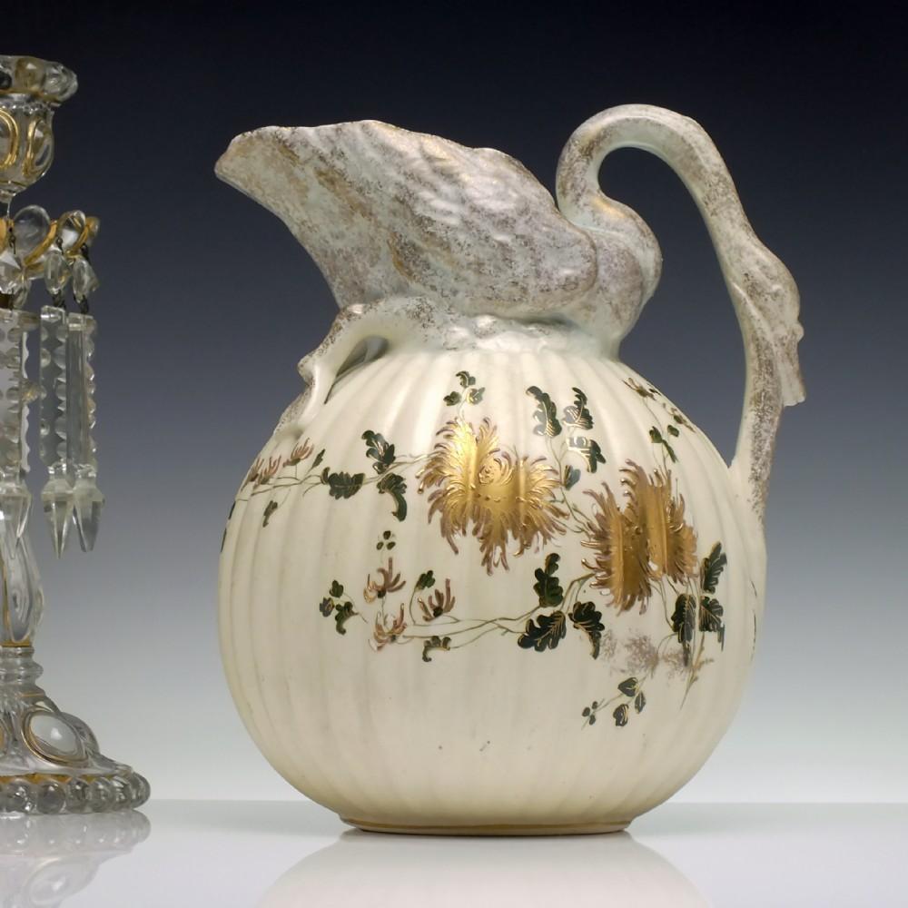 large victorian hand painted swan porcelain water jug c1850