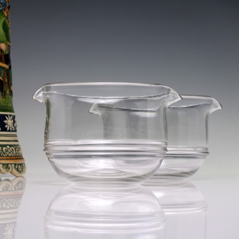pair victorian glass wine rinsers c1860