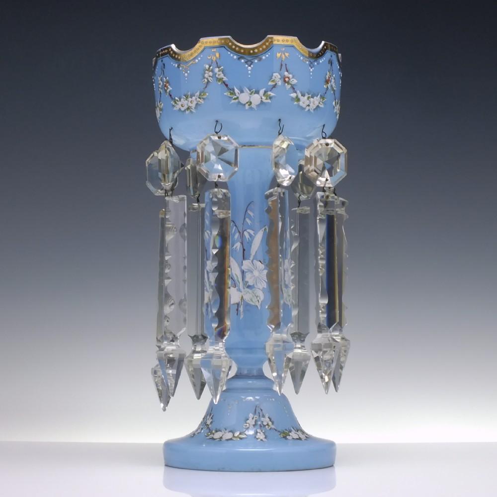 victorian enamelled blue glass lustre c1880