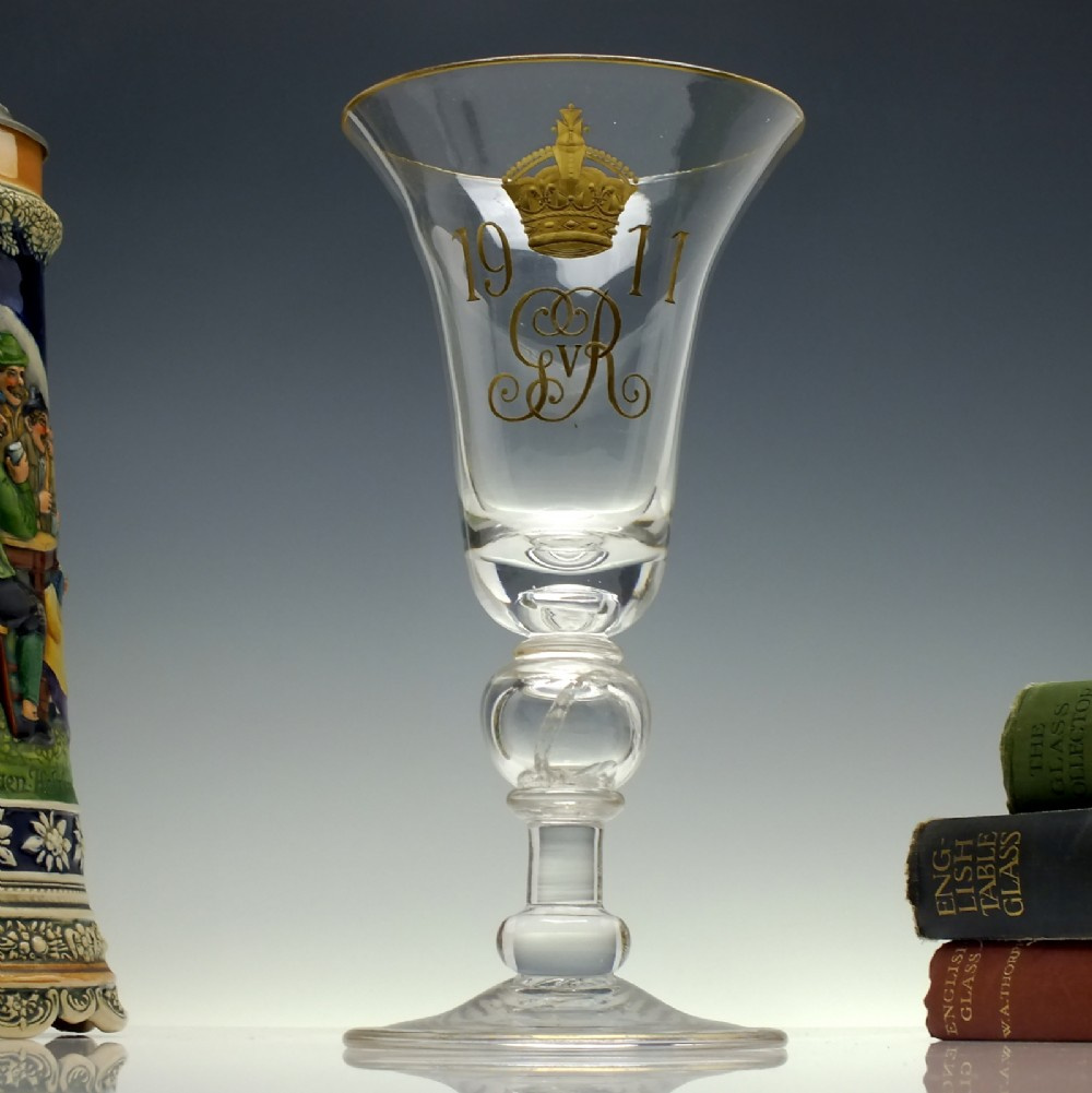 large george v coronation glass coin goblet c1911
