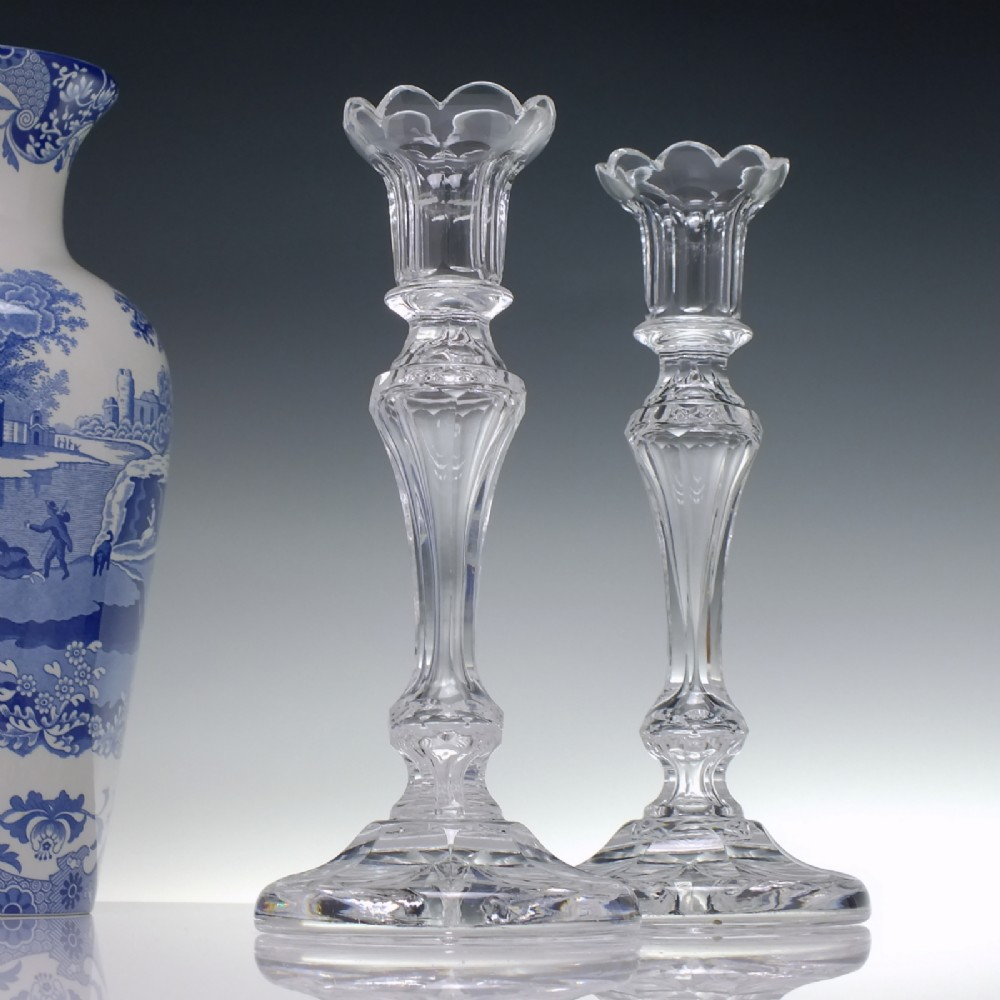 pair of early 20th century crystal glass candlesticks c1900