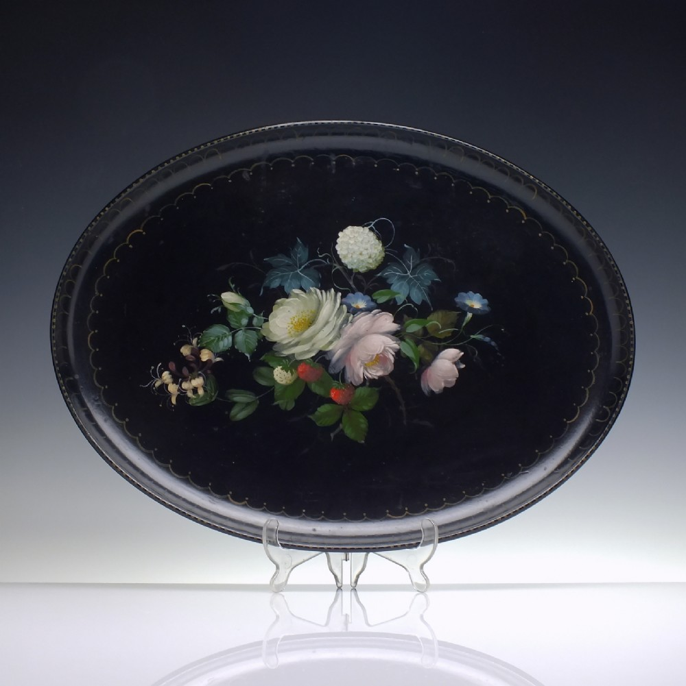 victorian papier mache hand painted black lacquer tray c1850