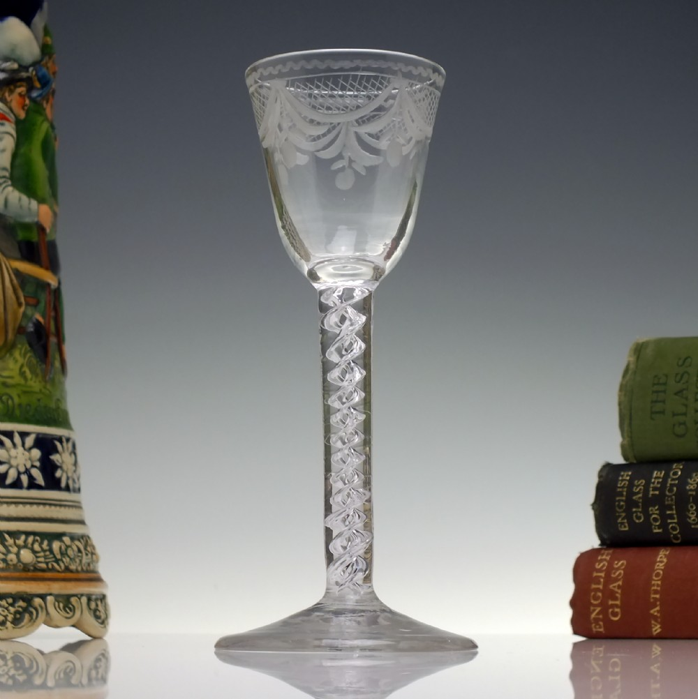 rare 18th century engraved mercury twist wine glass c1750