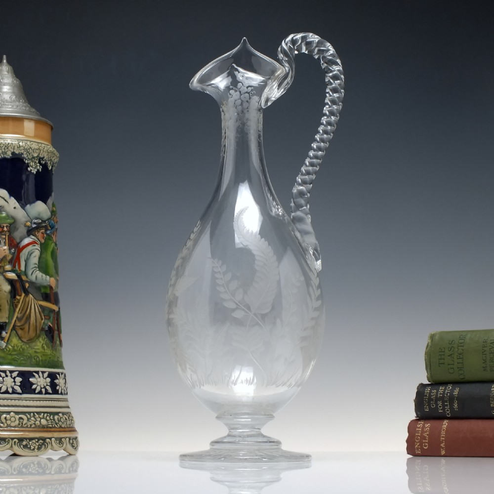 antique 19th century engraved glass claret jug c1870 by thomas webb
