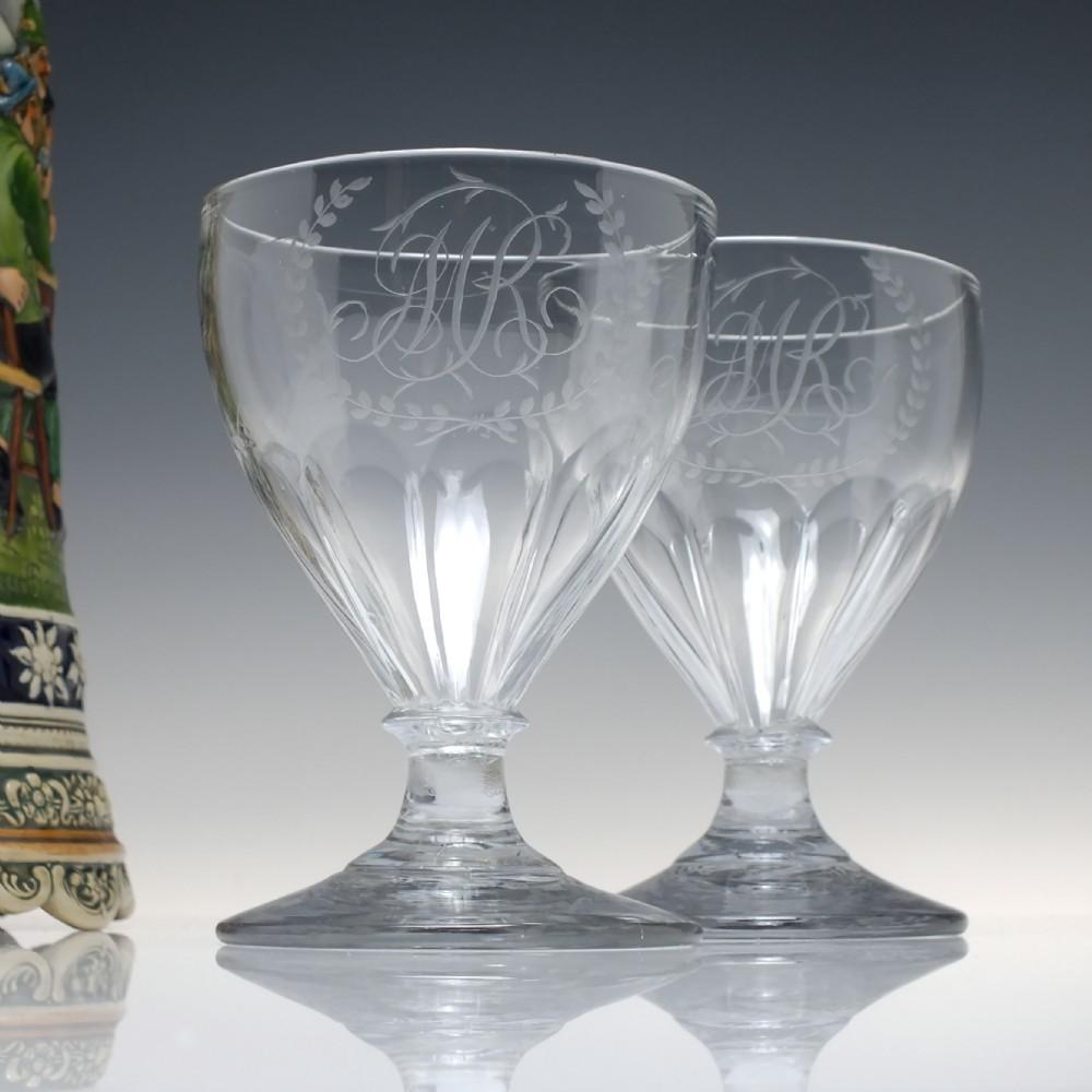 pair antique engraved petal moulded glass rummers c1840