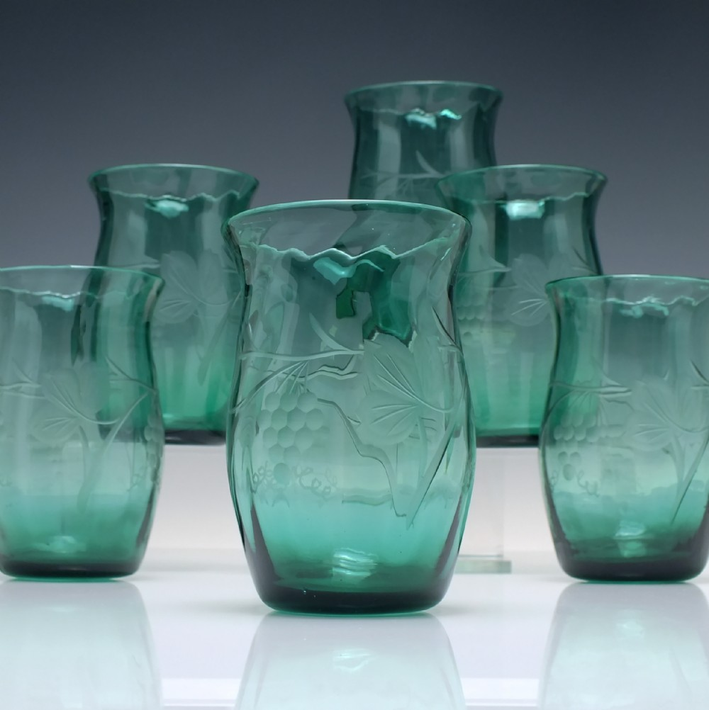 six vintage whitefriars pattern m2 engraved green glass tumblers c1933
