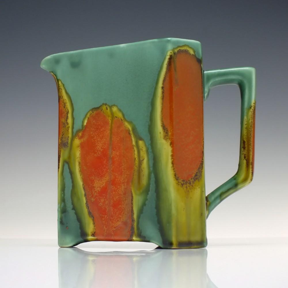 linthorpe style art nouveau triangular pottery water jug c1885