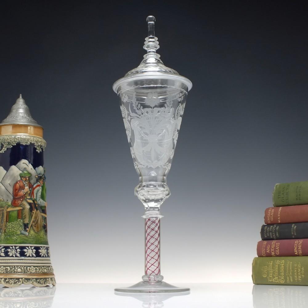 large engraved antique colour opaque twist josephinenhutte lidded wine goblet c1900