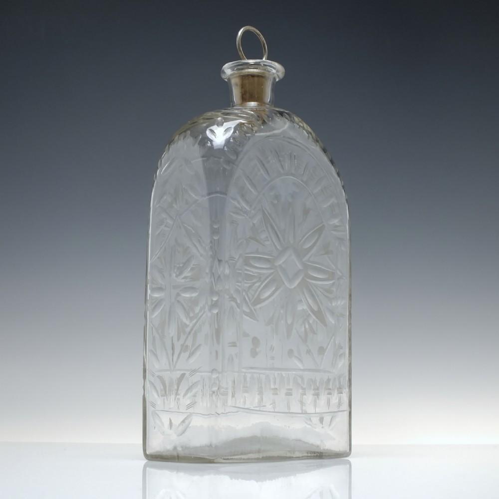 large 18th century facon de boheme rectangular spirit decanter c1760