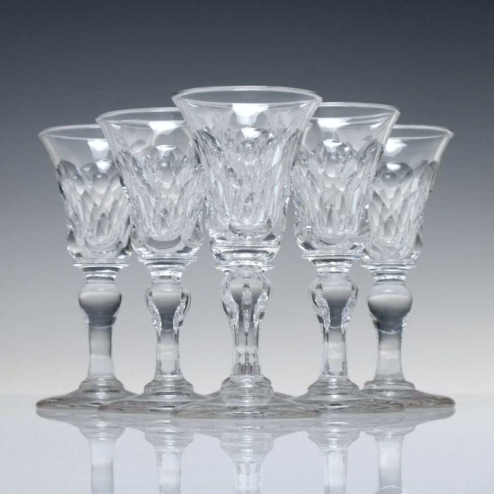 six 19th century port or dram glasses c1820