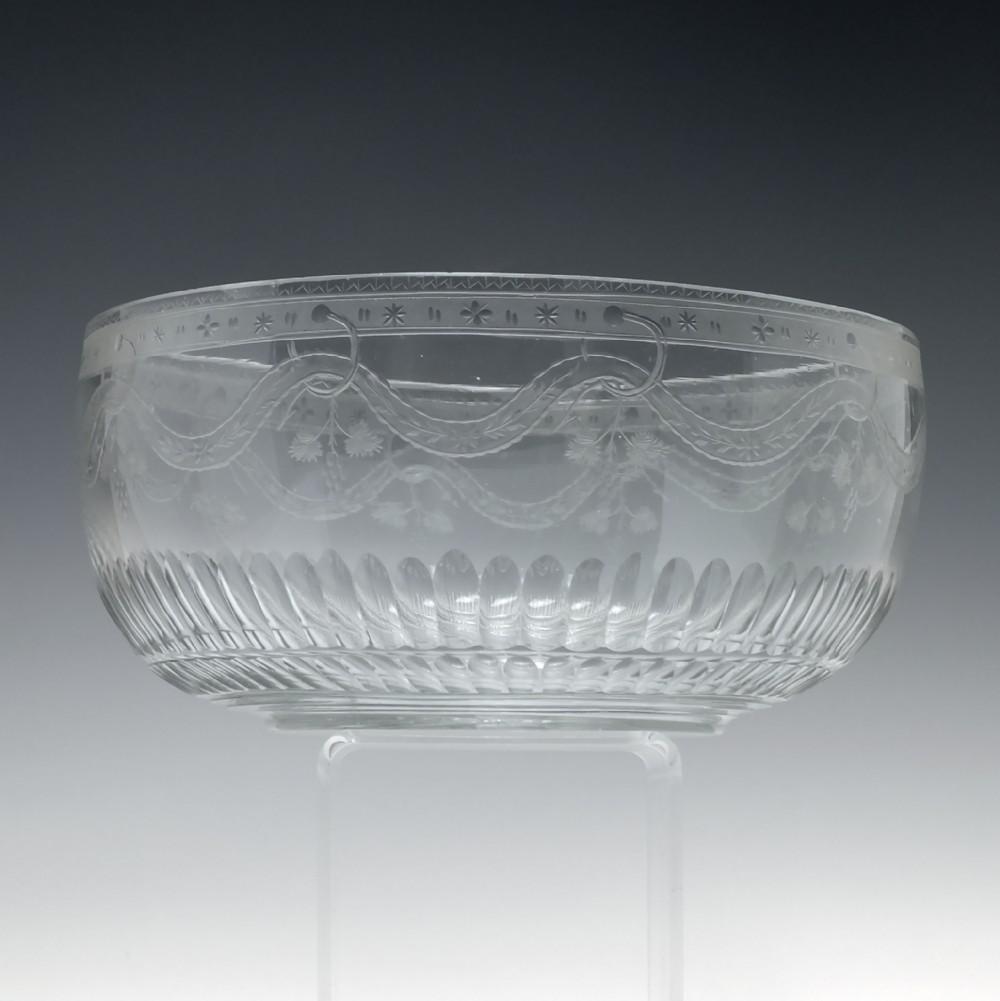 georgian engraved glass serving bowl c1830