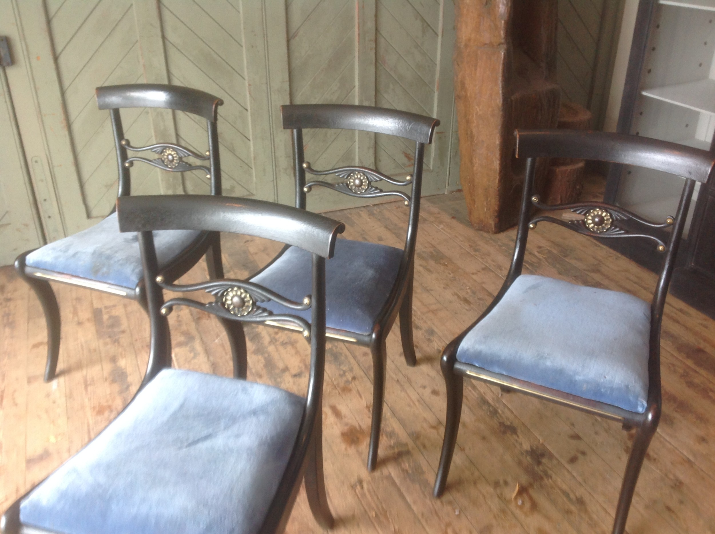 four regancy painted chairs