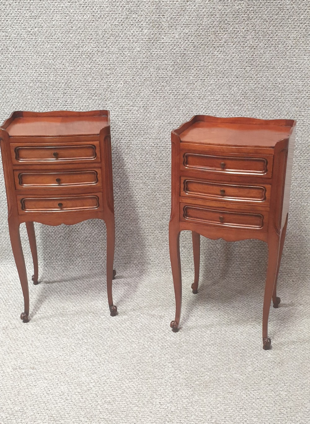 pair french bedside chest of drawers