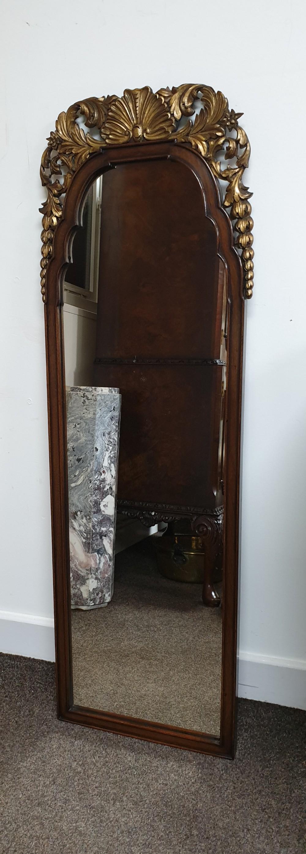 walnut and parcel gilt hall mirror