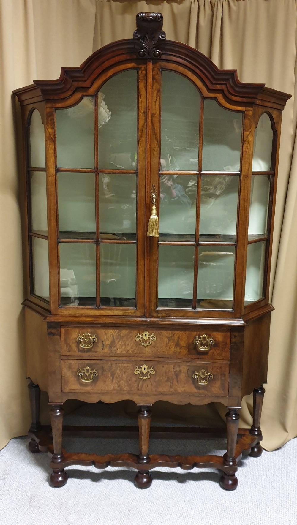 outstanding burr walnut display cabinet