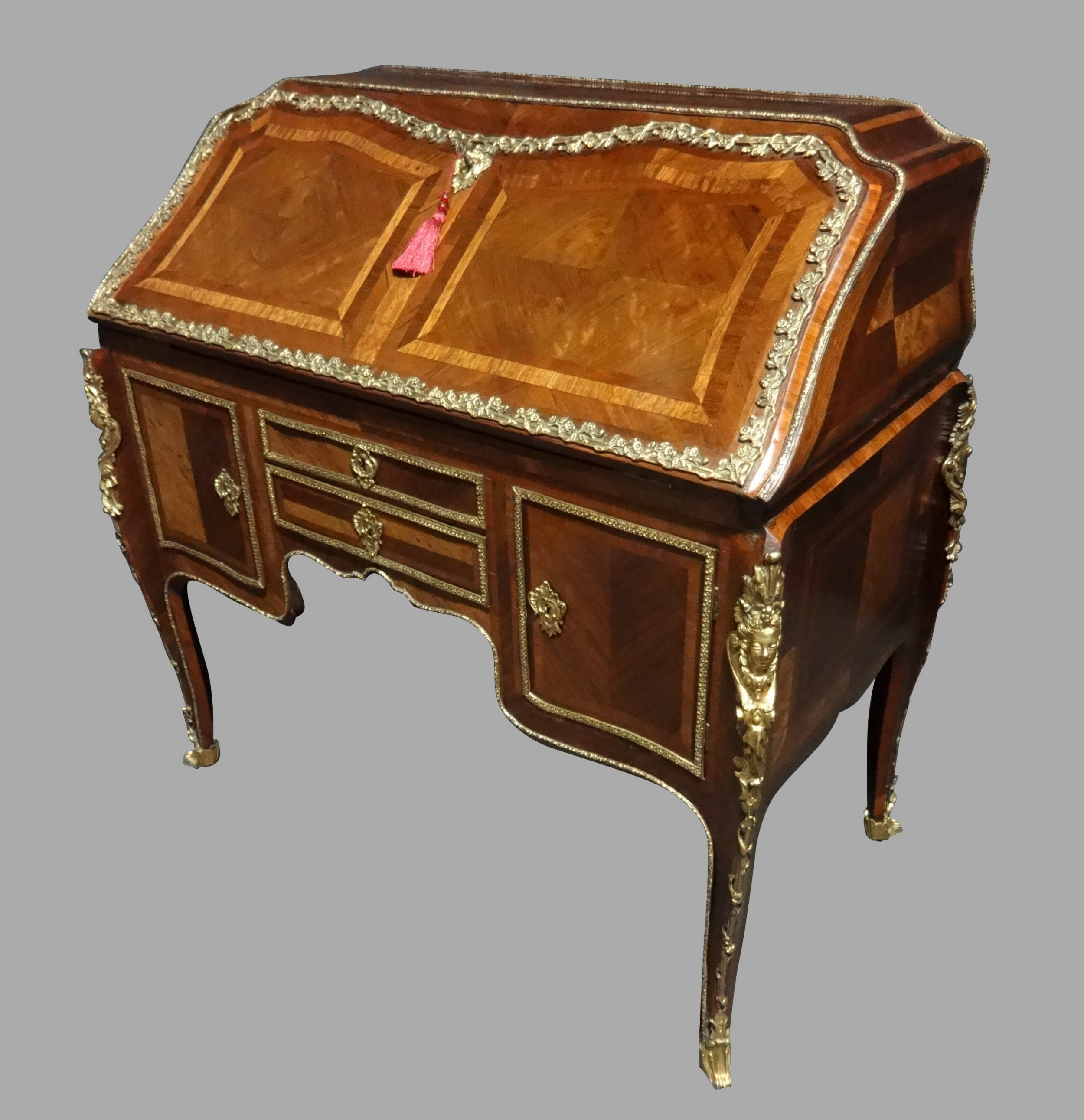 excellent quality early 19thc french kingwood parquetry bureau