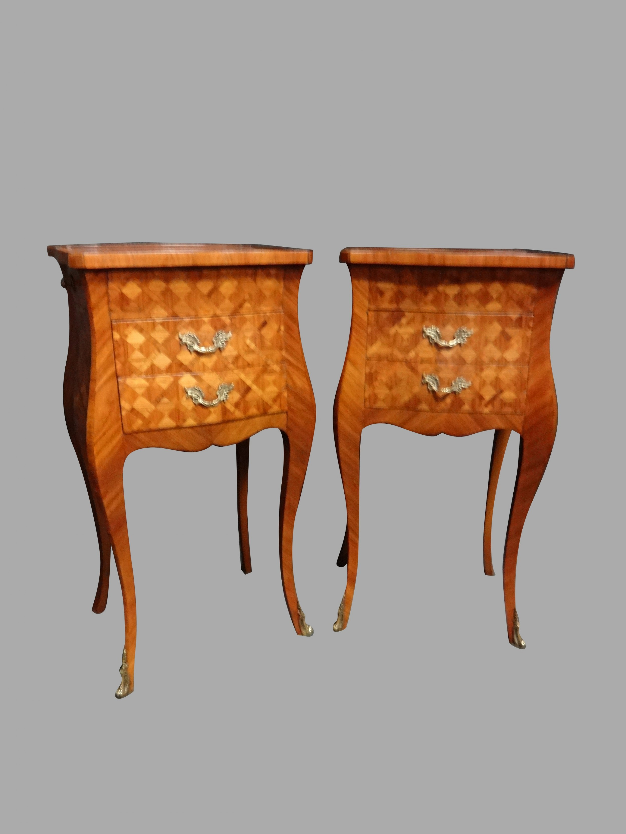 pair exquisite french parquetry bedside lamp chests of drawers