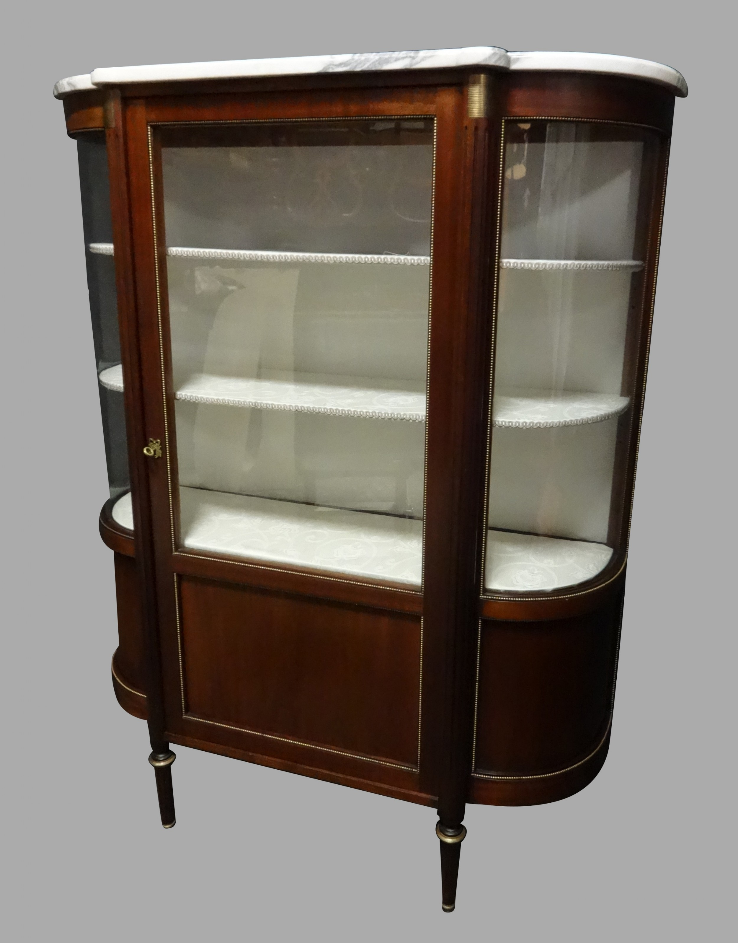 very elegant brass mounted mahogany display cabinet
