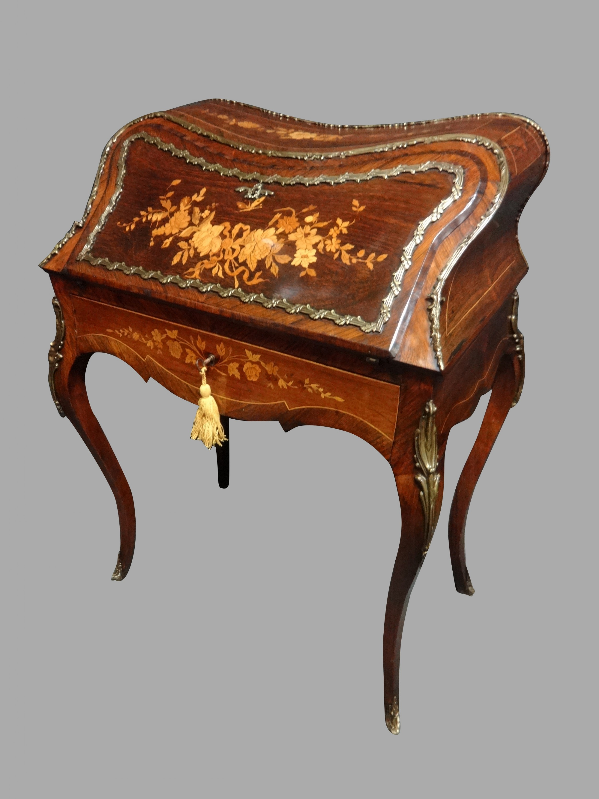 stunning french rosewood and marquetry bombe bureau de dame