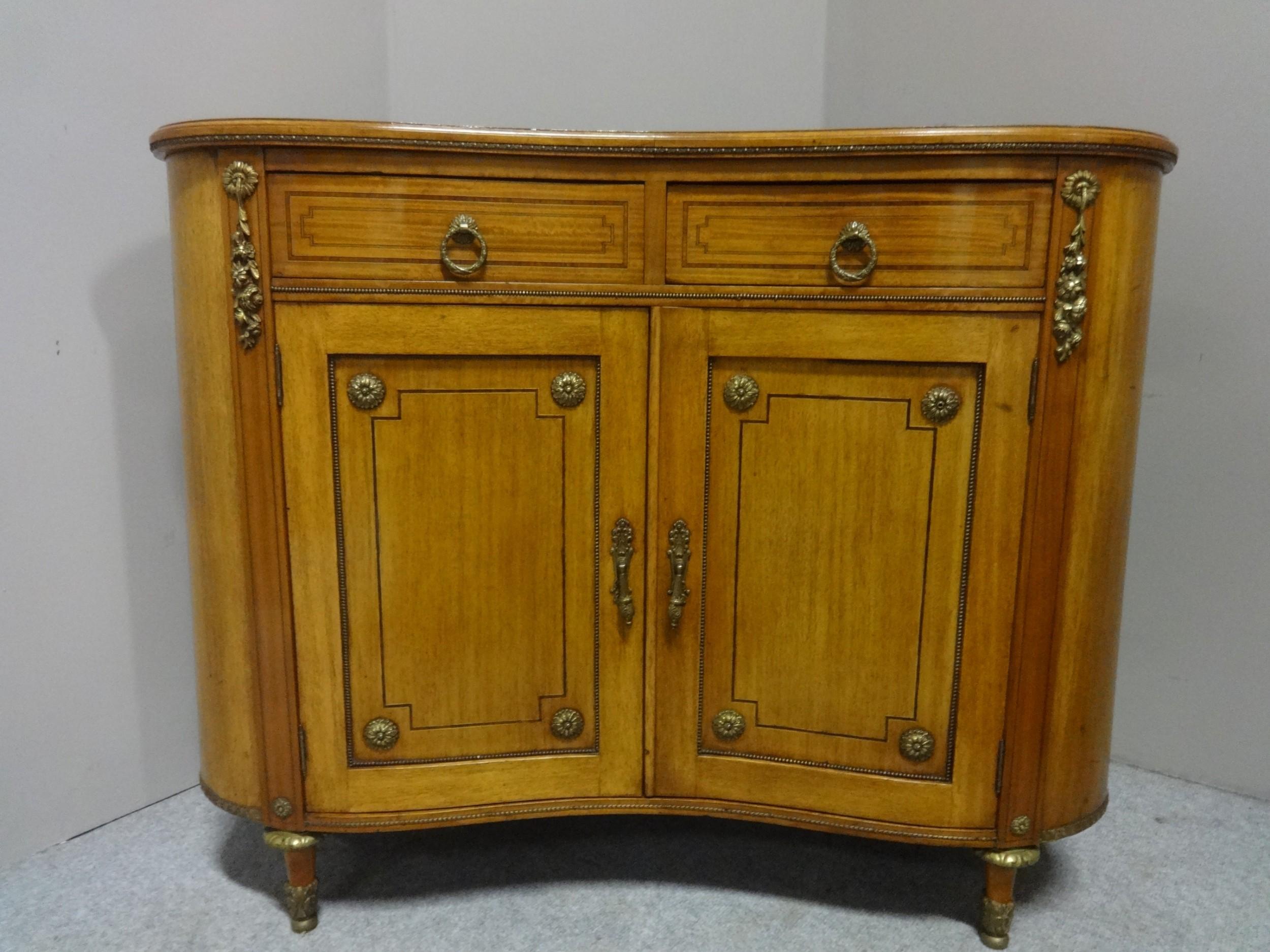 fine satinwood kidney shaped side cabinet