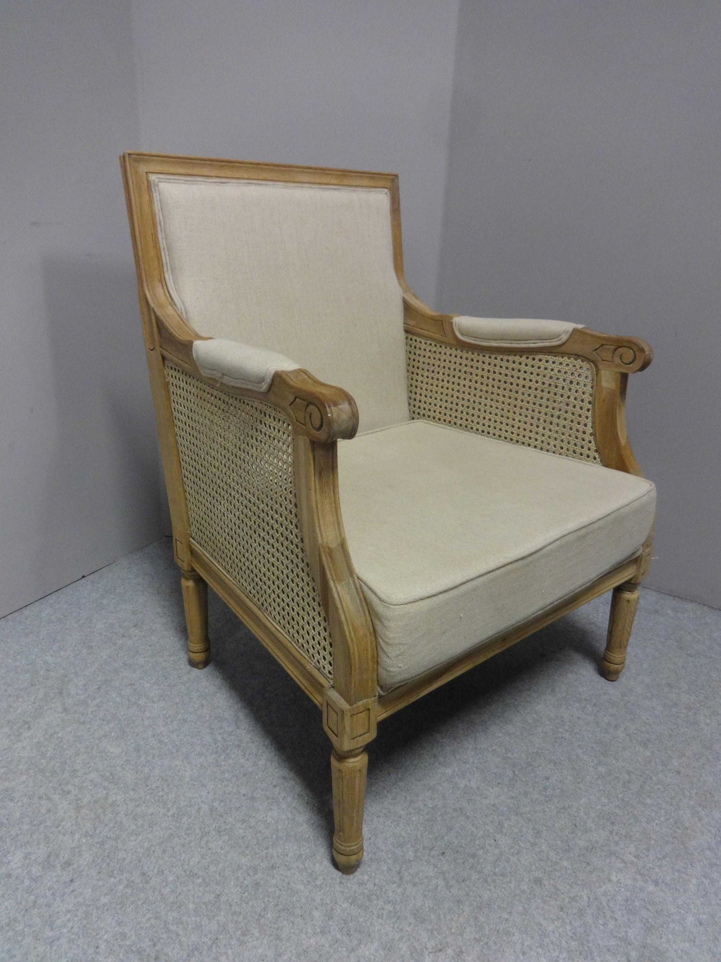 good bleached oak bergere armchair